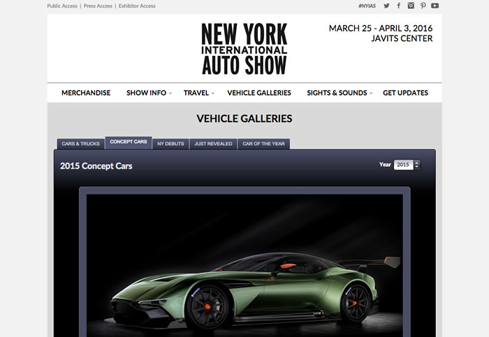New York International Auto Show Website