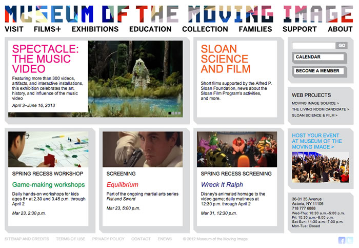 Museum of the Moving Image Website